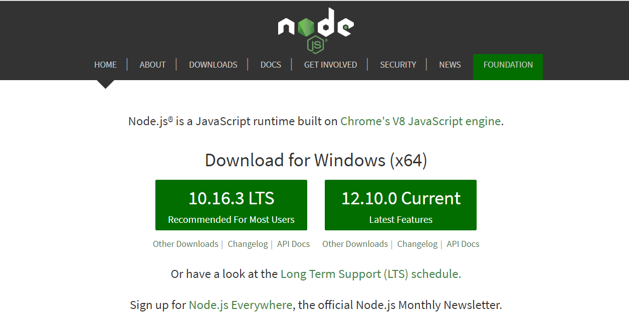 Download node.js